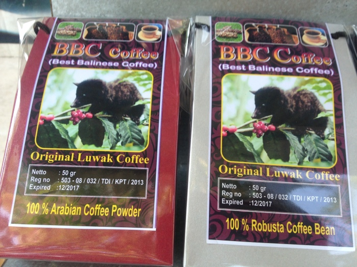 Kopi Luwak on sale in Bali